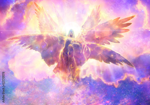 Obraz Abstract 3d rendering illustration of an powerful angel with wings flying over to heaven - fototapety do salonu