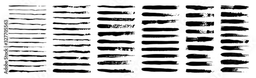 Obraz set of grunge black paint, ink brush strokes. brush collection isolated on white background. Trendy brush stroke for black ink paint,grunge backdrop, dirt banner,watercolor design and dirty texture. - fototapety do salonu