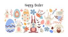 Happy Easter Set Of Cute Flowe...
