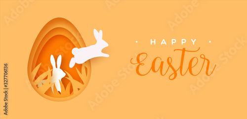 Happy easter paper cut card rabbit jumping in egg Wallpaper Mural