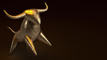 Bull Gold  3d Rendering In Dar...