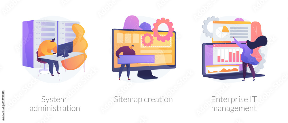 Fototapeta Server maintenance, web design development, business organization icons set. System administration, sitemap creation, enterprise it management metaphors. Vector isolated concept metaphor illustrations