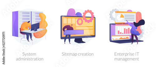 Server maintenance, web design development, business organization icons set. System administration, sitemap creation, enterprise it management metaphors. Vector isolated concept metaphor illustrations