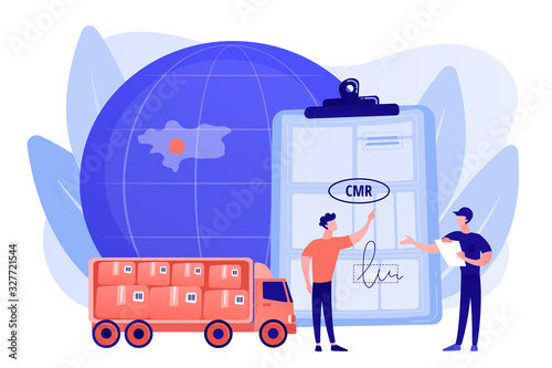Fototapeta Worldwide logistics and distribution contract. Road transport documents, CMR transport document, international transportation regulation concept. Pinkish coral bluevector isolated illustration obraz
