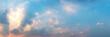 Leinwandbild Motiv Panorama of Dramatic vibrant color with beautiful cloud of sunrise and sunset. Panoramic image.