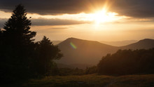 A Scenic Sunset View Of The Green Mountains On The Long Trail In Vermont.