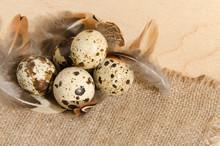 Quail Eggs On A Rough Burlap C...