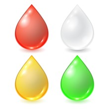 Vector Set Of Different Drops - Red Blood, White Cream Or Milk, Yellow Honey Or Oil And Green Organic Droplet. Realistic Illustration.