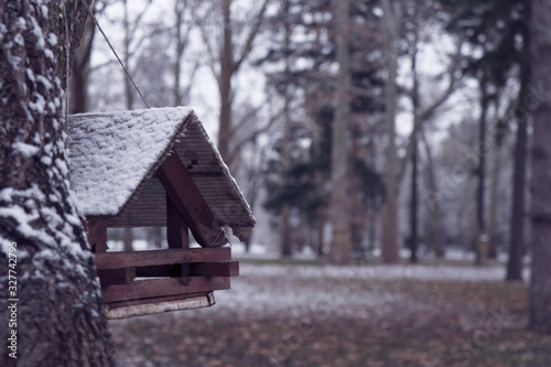 Image of a birdhouse in a winter park. Canvas Print