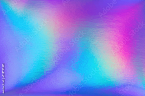 Stampa su Tela Abstract trendy rainbow holographic background in 80s style