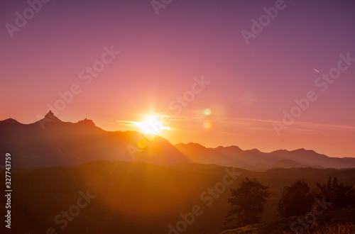 Mountains on sunset Wallpaper Mural