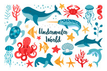 Set Of Sea Animals In Flat Sty...