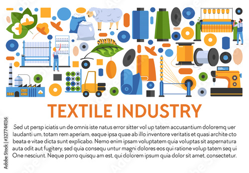 Textile industry banner with fabrics manufacturing icons and text Wallpaper Mural