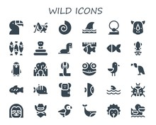 Modern Simple Set Of Wild Vector Filled Icons