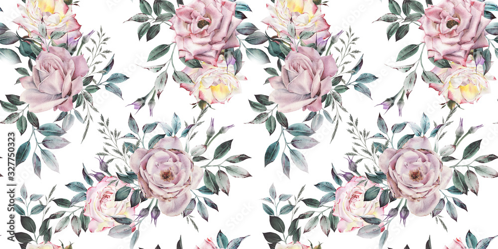 Fototapeta Seamless floral pattern with flowers on light background, watercolor. Template design for textiles, interior, clothes, wallpaper. Botanical art