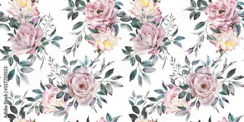 Seamless floral pattern with flowers on light background, watercolor. Template design for textiles, interior, clothes, wallpaper. Botanical art - 327750323