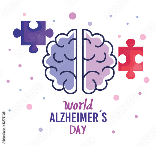 world alzheimer day with brain and puzzle piece vector illustration design Canvas Print