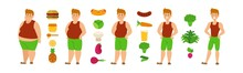 Vegan Diet For Weight Loss And Healthy Lifestyle, Obese Man Turning Into Fit Handsome Guy, Vector Illustration. Male Cartoon Character Before And After Vegetarian Food. Organic Vegetable Isolated Icon