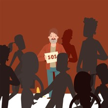 Homeless Man On Street Asking For Help, Indifferent Crowd Ignores Poor People, Vector Illustration. Jobless Man Cartoon Character Holding Cardboard Sign. Unemployed Person Alone In Crowd Street People
