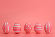 Easter Decorated Pink Eggs. Fi...