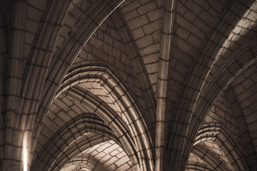 Gothic ceiling structure, abstract dark classic interior