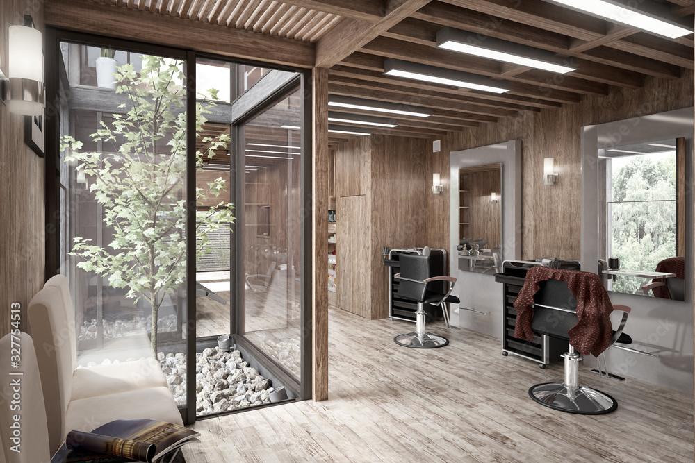Fototapeta Hair Salon Designed in Wood (desaturated)  - 3d visualization