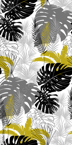 Fototapeta seamless pattern with tropical plants in three colors black white gold with leaves of monstera obraz na płótnie