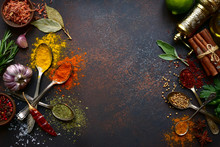 Assortment Spices. Top View Wi...