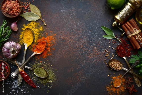 Assortment spices. Top view with copy space. Tablou Canvas