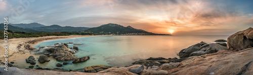 Valokuva Sunset over beach and village of Algajola in Corsica