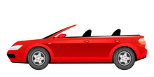 Red Cabriolet Cartoon Vector Illustration. Fashionable Summer Car Without Roof Flat Color Object. Stylish Crimson Automobile Side View. Luxurious Personal Vehicle Isolated On White Background