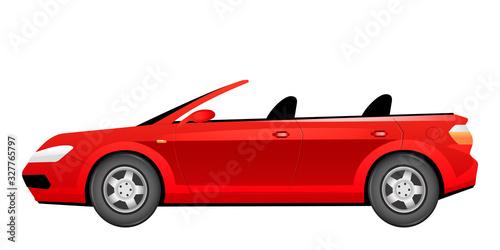 Photo Red cabriolet cartoon vector illustration