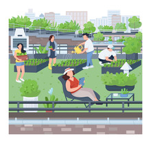 Landscaping Flat Color Vector ...