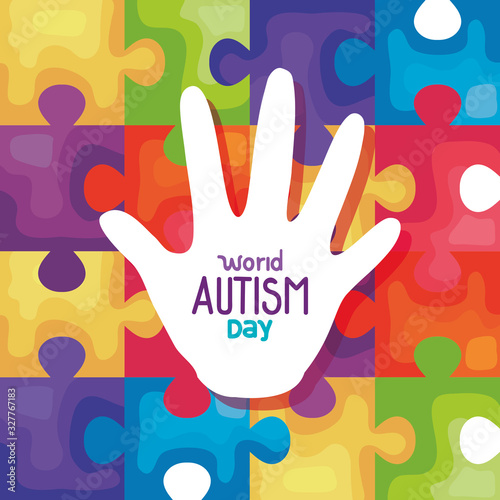 world autism day with hand in puzzle pieces background vector illustration desig Wallpaper Mural