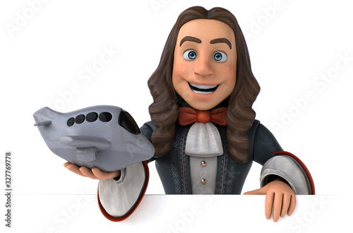 Photo 3D Illustration of a cartoon man in historical baroque costume