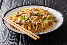 Spicy Shanghai Egg Noodles With Chinese Cabbage, Green Onions And Pork Closeup In A Plate. Horizontal