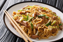 Tasty Stir-fried Chinese Egg Noodles With Napa Cabbage, Green Onions And Pork Closeup In A Plate. Horizontal