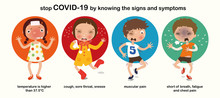 Symptom Of COVID-19, High Temperature, Cough, Sore Throat, Sneeze, Muscle Pain, Chest Pain, Fatigue, Cartoon Character, Illustration, Vector