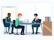 Business people. Office team cartoon characters. Group of business men, Teamwork colleagues vector concept. Illustration vector of discussion and talk, Board background.