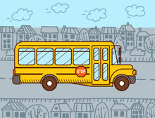 Welcome Back To School Illustration. Yellow School Bus Rides In The City