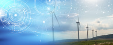 Wind Turbines In A Rural Landscape; Panoramic Banner