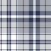 Tartan Plaid Pattern Background. Seamless Check Plaid Graphic In Dark Blue, Light Grey, And White For Flannel Shirt, Blanket, Throw, Upholstery, Duvet Cover, Or Other Modern Textile Design.