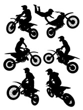 Motocross Silhouettes Showing Different Positions Or Ticks