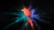 Super slow motion of coloured powder explosion isolated on black background. Filmed on high speed cinema camera, 1000fps.