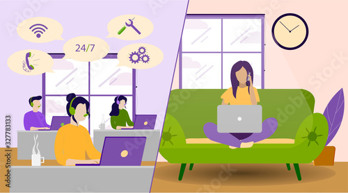 Photo Clients Support, Helpline for Customers, Online Technical Assistance Flat Vector Concept