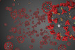 3D rendering, coronavirus cells covid-19 influenza flowing on grey gradient background as dangerous flu strain cases as a pandemic medical health risk