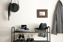 Black Shelving Unit With Shoes...