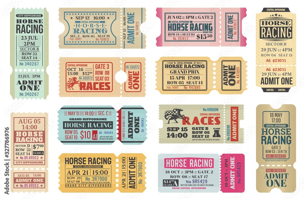 Fototapeta Horse racing ticket vector templates of equestrian sport competition. Hippodrome event admit one cards with race horse animals, jockey riders and racing flags, old paper tickets and invitations design