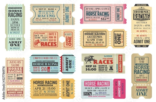 Obraz Horse racing ticket vector templates of equestrian sport competition. Hippodrome event admit one cards with race horse animals, jockey riders and racing flags, old paper tickets and invitations design - fototapety do salonu