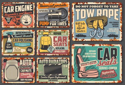 Fototapeta Car service rusty plates and retro posters, auto mechanic garage and automotive maintenance. Vector engine diagnostics, auto radiators, wheel pumping and tow rope garage service station obraz
